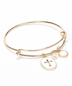 Loving this Gold & White Charm Bangle on #zulily! #zulilyfinds
