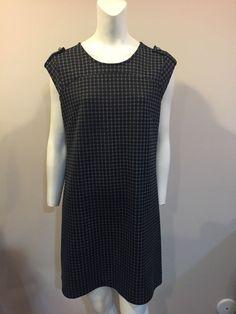Banana Republic Sheath Dress Geometric Gray Career Stretch 10 #BananaRepublic #Sheath #WeartoWork