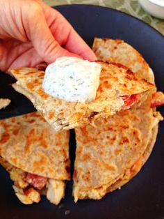 "chicken, bacon, ranch quesadillas with a ""ranch"" dipping sauce. instead of making the ranch dipping sauce I mixed plain greek yogurt and a dry ranch dressing packet. I also doubled the recipe because I knew it was going to be good. Think Food, I Love Food, Food For Thought, Good Food, Yummy Food, Tasty, Clean Eating Recipes, Cooking Recipes, Healthy Recipes"