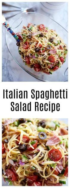 Light and fresh, enjoy this cold spaghetti salad, Summer Italian Spaghetti Salad Recipe. A spaghetti salad recipe with Italian dressing, and other fresh garden ingredients. Italian Spaghetti Salad Recipe, Cold Spaghetti Salad, Cold Pasta, Spaghetti Squash, Spagetti Salad Recipes, Spaghetti Noodles, Spaghetti Sandwich, Squash Pasta, Pasta Recipes