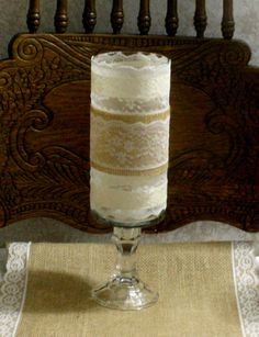Vintage burlap wedding vase Victorian wedding by Bannerbanquet, $14.00