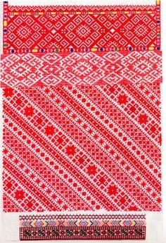 FolkCostume: Red sleeve embroidery of the Sniatyn district, Pokuttia, Ukraine Pisanki inspiration Polish Embroidery, Folk Embroidery, Types Of Embroidery, Cross Stitch Embroidery, Embroidery Patterns, White Embroidery, Cross Stitch Borders, Cross Stitch Art, Cross Stitching