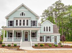 Farmhouse Plan 30081RT: 4 to 5 beds, master and laundry up, screened porch in back. Perfect!