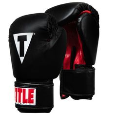 Title Boxing Classic Hook and Loop Vinyl Training Boxing Gloves - Black/Red Grappling Dummy, Title Boxing, Boxing Hand Wraps, Karate Kick, Sparring Gloves, Protective Gloves, Combat Sport, Boxing Gloves