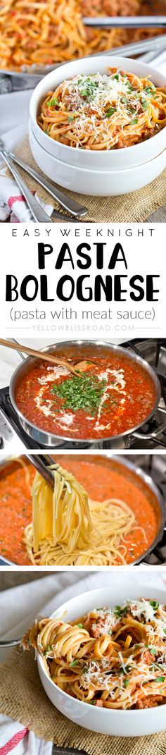 Easy Weeknight Pasta Bolognese - Perfect for busy weeknights and ready in 30 minutes. Such a rich and meaty tomato sauce that your whole family will love!