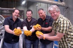 Mitch Steele, Patrick Rue from Bruery, Steve Wagner, and Dick Cantwell from Elysian Brewing adding Stone Farms pumpkins to the mash for the collaboration beer we made in late Bruery / Elysian / Stone La Citrueille Céleste de Citracado Brewing Co, Home Brewing, Elysian Brewing, Stone Farms, Beer Festival, Craft Beer, Brewery, Bacon, Pumpkin