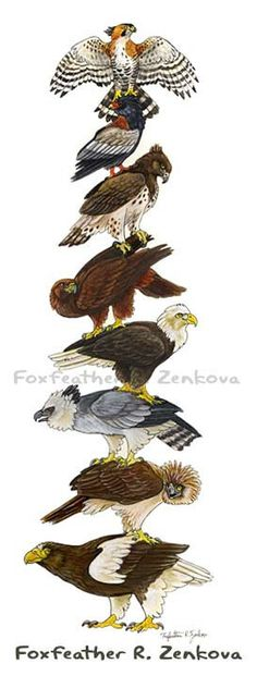 Eagle Stack Painting Print Wall art bird stack by foxfeather