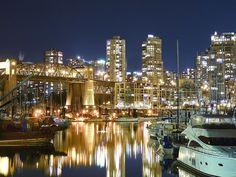 Burrard Bridge and Downtown Vancouver #Burrard #Vancouver #City #Night #Canada