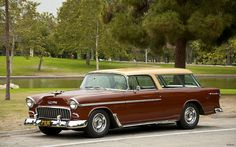 1955 Chevrolet Bel Air Nomad with Rally Wheels - gold over metallic brown - fvl --- EXPLORED by Pat Durkin - Orange County, CA, via Flickr
