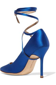 Heel measures approximately 4 inches Bright-blue satin  Ties at ankle  Made in ItalySmall to size. See Size & Fit notes.