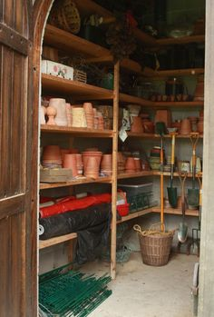 Garden Shed Organization Inspiration!! I like everything out so you can see what you have