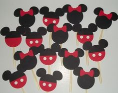 12 Mickey and Minnie Cupcake Toppers. by LittleMissStarchick, $10.00