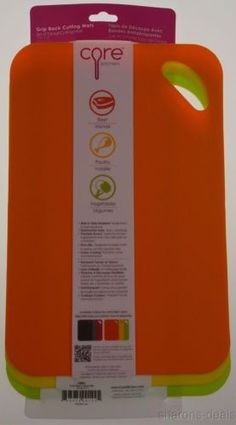 Set 3 Core Kitchen Grip Back Cutting Mats Flexible Beef Poultry Vegetable Handle