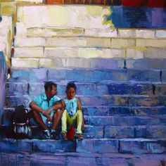 """""""Sitting on the stairs"""" - Original Fine Art for Sale - © Víctor Tristante"""