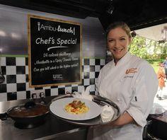 Celebrity MasterChef winner Lisa Faulkner on board the 'Ambu-lunch'.