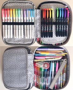 Updated: What's [currently] in my Kipling 100 pens case! I swapped out my fineliners because I never/don't like using them   1. zebra mildliners 2. tombow highlighters 3. frixion pastel highlighters 4. zebra sarasas 5. pilot juice + metallics/pastels 6. muji retractable gel pens 7. zebra delguard mechanical pencil 8. ruler 9. tombow white out