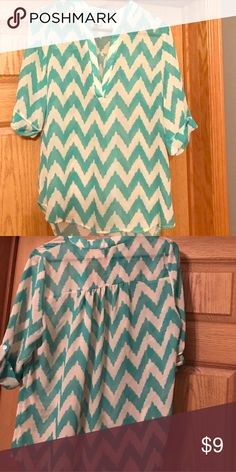 Mint Turquoise & Cream Chevron Hi-Lo Tunic So pretty! Hi-Lo Tunic for Spring!🦋 Pairs with shorts or a skirt to feel like it's time for outside! Will look great on your tan skin! Tops Blouses