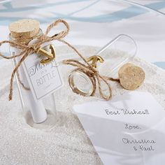 """Encourage wedding guests to store their well-wishes in this """"message in a bottle"""" favor. Or write your own message to guests!"""