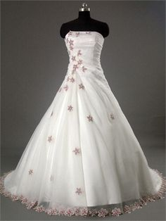 Sexy Straight Neckline with Beadings and Appliques Ball Gown Organza Satin Wedding Dress WD1050 www.tidedresses.co.uk $240.0000