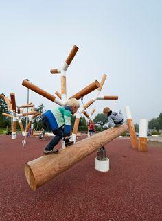 Creative Outdoor Gym in a Modern Community Park - Landscape Architects Network Modern Playground, Park Playground, Playground Design, Backyard Playground, Park Landscape, Landscape Design, Urban Sport, Outdoor Gym, Parking Design