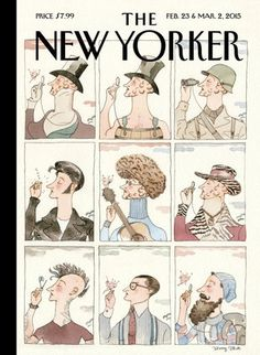 The New Yorker cover , February 23 & Maech 2015 by Barry Blitt (The nine covers for our ninetieth anniversary bring Eustace Tilley squarely into modern times). The New Yorker, New Yorker Covers, Print Magazine, Magazine Art, Magazine Covers, Magazine Design, Capas New Yorker, Lorenzo Mattotti, Its Nice That