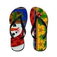 Portrait of a Snowman Flip Flops  > Patricia Shea Designs