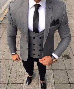 Men's Suit 3 Piece Suit Custom Made Grey-Suit-LeStyleParfait.Com