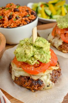 The Ultimate Slimming World Mexican Burgers - tender juicy burger stacks, topped with melted cheese, caramelized onions, ripe tomatoes and mashed avocado. Gluten-Free, Slimming World and Weight Watchers friendly Slimming World Turkey Burgers, Slimming World Beef Recipes, Slimming World Fakeaway, Mexican Burger, Slimming Eats, Eat This, Thing 1, Easy Family Meals, Nutrition