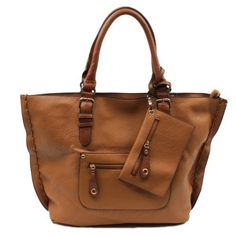 """Scarleton Large Tote H103504 - Brown (741360424739) Synthetic Top zip closure. Outside zip pocket and slip pocket. Coin bag with zip closure. Inside small bag (12""""x8"""") with removable and adjustable crossbody strap. 19""""x13""""x6""""."""