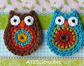 Etsy shop with lots of Chrochet patterns - Owl application set brown/turquoise