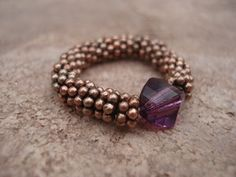 Stretchy Ring with Amethyst Color Swarovski Crystal and Antique Copper Daisy Shape Beads, For Her