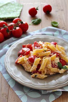 Penne con pomodorini e ricotta fresca