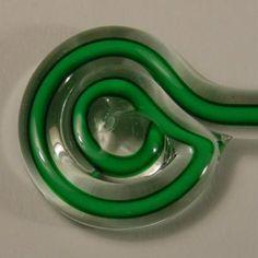Effetre/Moretti - Green w/ White Core Filigrana    www.mountainglass.com