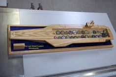 AIRCRAFT CARRIER CHALLENGE COIN DISPLAYS - by thelastdetailcww @ LumberJocks.com ~ woodworking community Challenge Coin Display, Challenge Coins, Coin Holder Military, Retirement Ideas, Hat Boxes, Aircraft Carrier, Custom Woodworking, Usmc, Caves