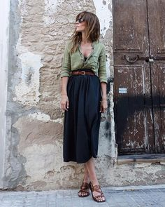 Green button down, high waisted black midi skirt, brown leather belt & sandals, simple bracelet, wayfarer sunglasses, pretty push up camisole, windblown hair