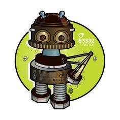 Mécanique Sociale : Robot Victor Design Graphique, Robot, Flower, Robots