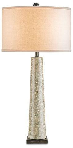 "Epigram Table Lamp | Currey and Company.  33""H x 126""W.  Polished concrete.  Bone linen shade 1x150watts."