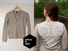Pearls & Scissors: Refashionista // Add a lace layer to a bland cardigan