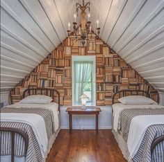 bookriot: City Farmhouse used 1700 books to create this back wall. Talk about awesome DIY book project! Attic Spaces, Attic Rooms, Attic Bathroom, Attic Renovation, Attic Remodel, City Farmhouse, Modern Interior Design, Living Spaces, House Design