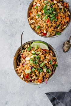two bowls of thai quinoa salad
