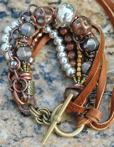 Rustic Copper, Brass and Leather Bracelet by XO Gallery Jewelry