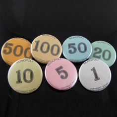 Monopoly money upcycled push pins or buttons