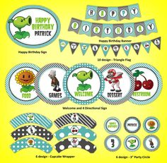 Plants VS Zombies Printable Party Decoration Kit (@Tanya Anna i guess Gavin isnt the only kid to want this kind of party)