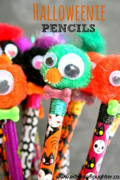 Halloween Pencils- a great craft for kids to make and take to school for classmates that is NOT candy!