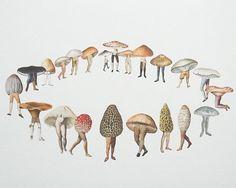 Mushroom circle of life Art And Illustration, Illustrations, Halloween Illustration, Mushroom Circle, Mushroom Art, Fairy Ring, Ecole Art, Photocollage, Art Design