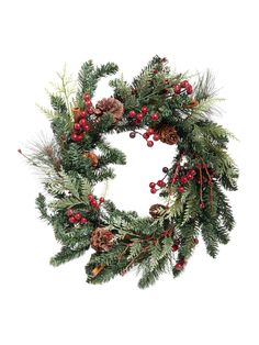 Adorn the front door with a classic holiday embellishment: the wreath. The vibrant branches in this beautiful wreath look stunning enough to be live, but will last for many Christmas seasons to come. Christmas Door Wreaths, Winter Wreaths, Berry Wreath, House Of Fraser, Red Berries, Festival Decorations, Pine Cones, Gift Guide, Merry