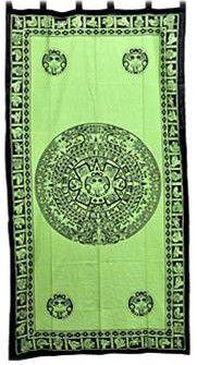 Aztec Calendar - Green - Curtain