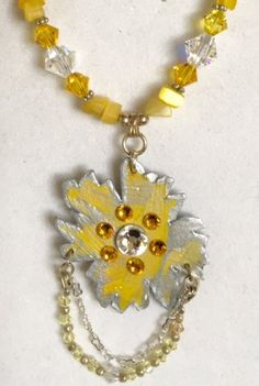 Crystals and Flowers in Yellow and Silver by MartinArtandBeads on Etsy