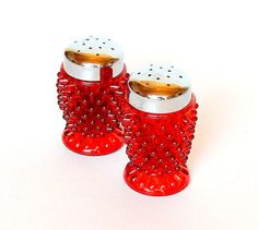 Vintage L.G.WRIGHT Ruby Red Hobnail Glass Salt & Pepper Shakers