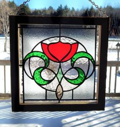 Edwardian Style Stained Glass Rose Panel by RedfordGlassStudio